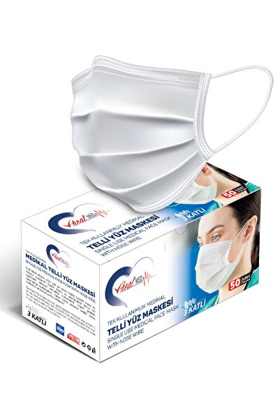 Medikal Maske 3 Katlı Meltblown Filtreli Burun Telli Full Ultrasonik Beyaz 50 Adet