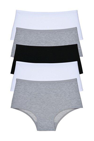 Kadın Gri Siyah Beyaz Yüksek Bel Külot 5'li Paket