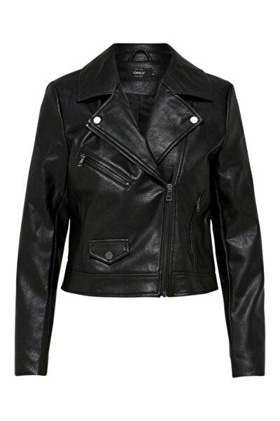 Kadın Siyah Motorcu Stil Suni Deri Ceket 15180324 ONLENYA