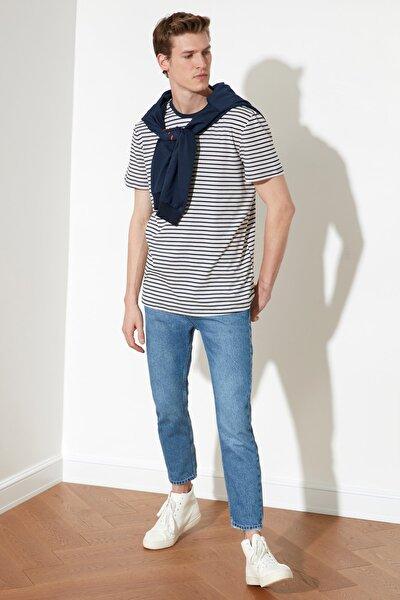 Açık Mavi Erkek Slim Fit Cropped Jeans TMNSS21JE0053