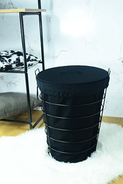 Linen Siyah Metal Çamaşır Sepeti