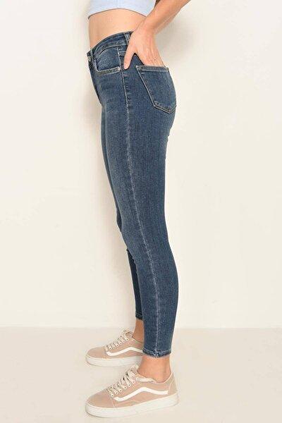 Kadın Koyu Kot Rengi Cep Detaylı Jean Pantolon Pn6806 - Pnf ADX-0000022760