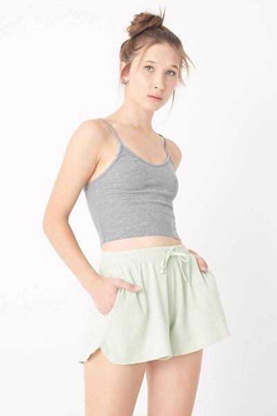 Kadın Gri Melanj Ince Askılı Atlet A0936 - F4 ADX-0000022285