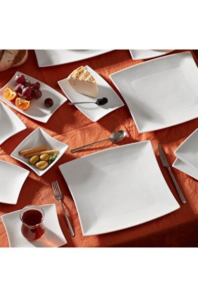 New Perfect White 26 Parça 6 Kişilik Kahvaltı Seti Kare