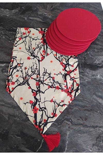 Kiraz Çiçeği Desenli Runner+6 Adet Kırmızı Amerikan Servis Supla Seti