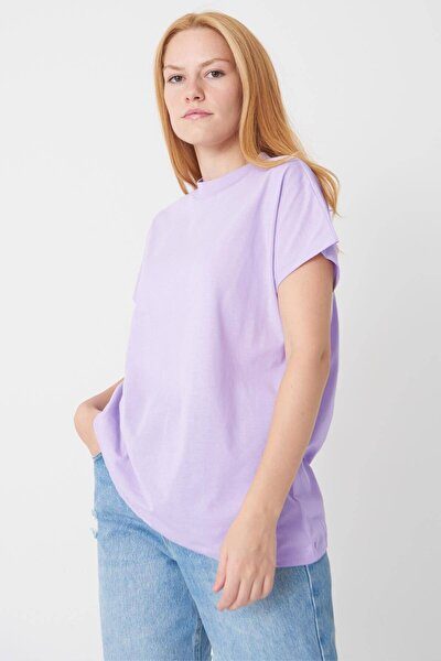 Kadın Lila Basic T-Shirt P0769 - U13 Adx-0000020933