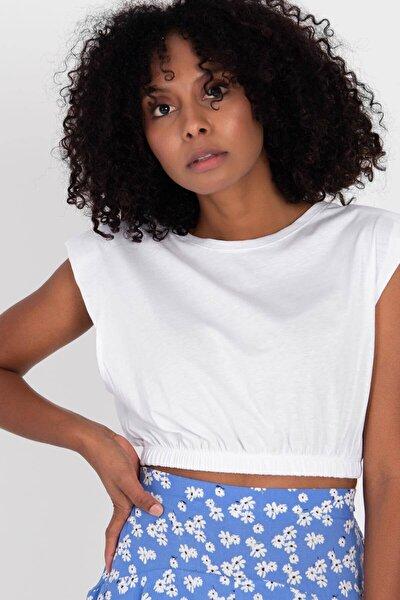 Kadın Beyaz Vatkalı Basic T-Shirt P0992 - E13 Adx-0000022473