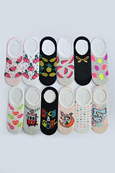 12'li Kadın Desenli Babet Çorap 3