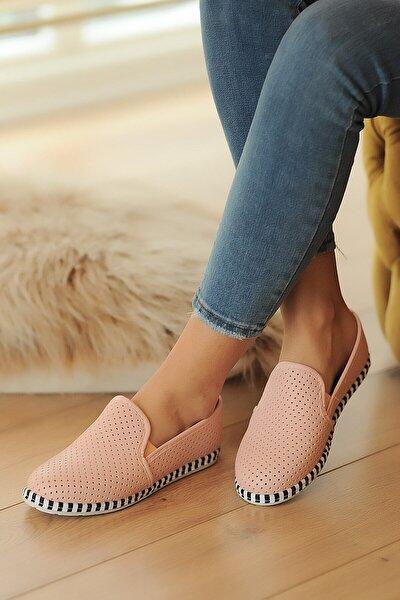Kadın Pudra Pembe Deri Delikli Rahat Taban Casual Sneakers Ayakkabı Byndgur01