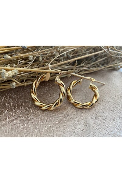 Gold Kalın Burgu Halka Küpe Iç Çap 2.5 cm