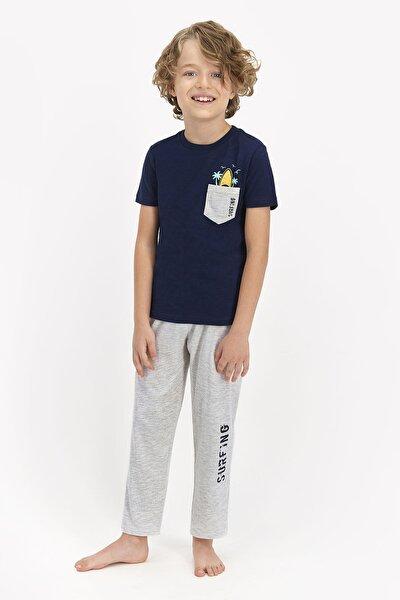 Erkek Çocuk Lacivert Surfing Baskılı Kısa Kol Pijama Takımı