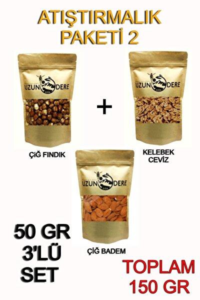 Atıştırmalık Paket 50 gr (ÇİĞ BADEM FINDIK CEVİZ) Toplam 150 gr