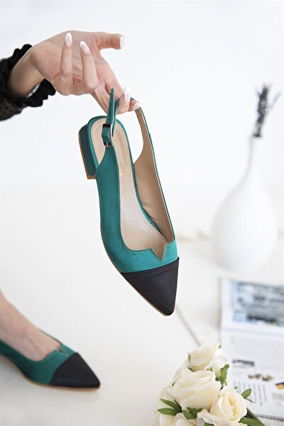 Kadın Yeşil Siyah Topuklu Saten Ayakkabı