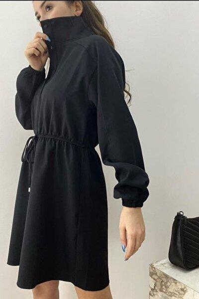 Kadın Siyah Büzgülü Elbise