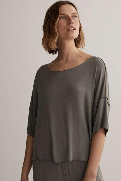 Kadın Gri Kısa Kollu Viskoz T-Shirt