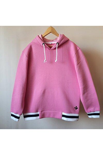 Unisex Pembe Oversize Hoodie Kapüşonlu Sweatshirt Kontrast Renkte 2. Kordon Hediye S2103hd01