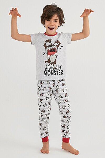 Erkek Çocuk Gri  Lıc Famıly Tasmanıan Pijama Takımı 2li