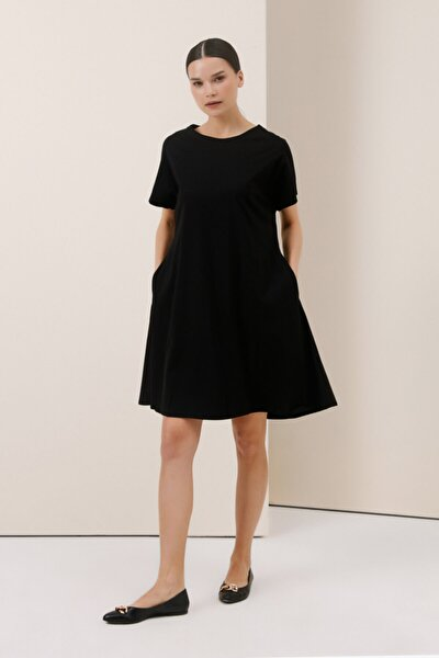 Organik Penye Elbise - Siyah
