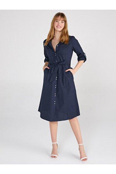 Kadın Lacivert Poplin Gömlek Elbise 62220