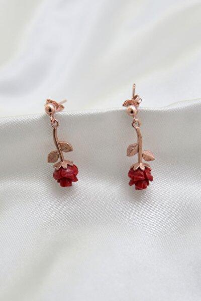 925 Ayar Gümüş Rose Kaplama Kırmızı Gül Model Çivili Kadın Küpe