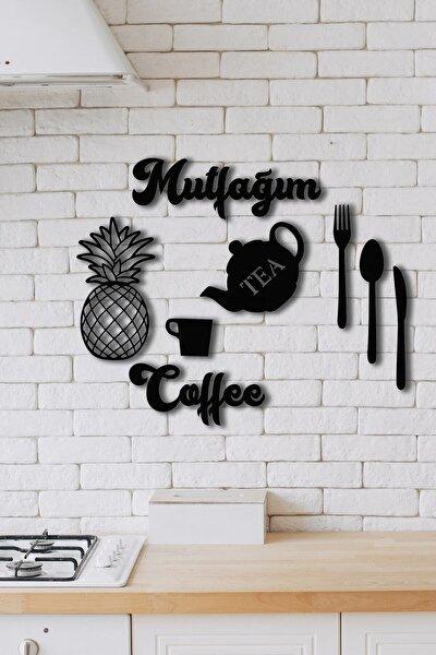Siyah Mutfağım Ananas 9 Parça Mutfak Konsepti Ahşap Duvar Dekoru