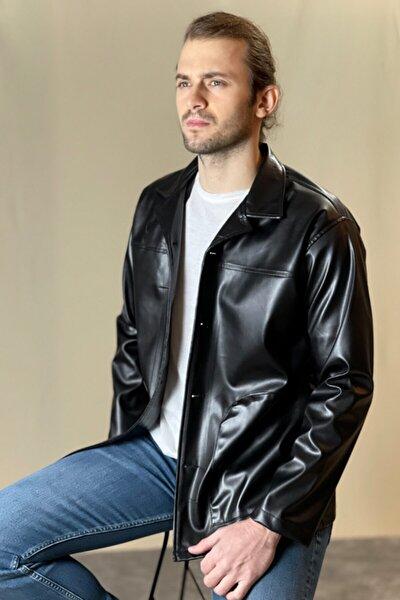 Siyah Oversize Deri Ceket