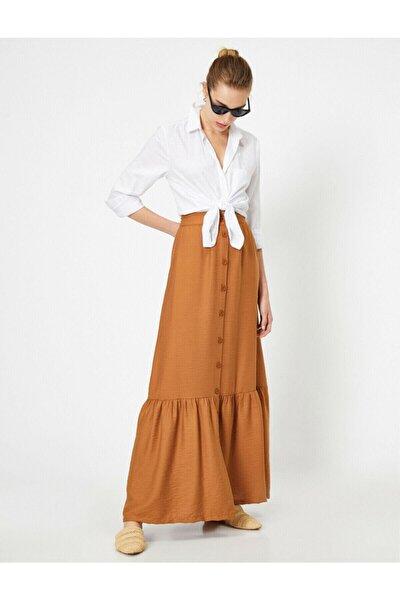 Kadın Kahverengi Normal Bel Dügme Detayli Firfir Detayli Maxi Etek