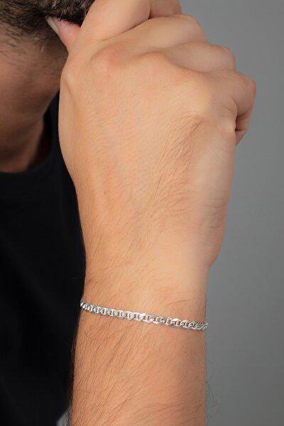 Barlı Gümüş Erkek Zincir Bileklik Veb-5024