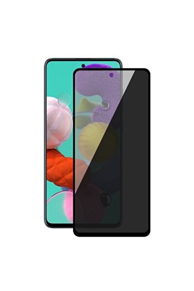 Samsung M51 Siyah Gizlilik Filtreli Privacy Hayalet Ekran Koruyucu Yanlardan Bakıldığında Görünmez