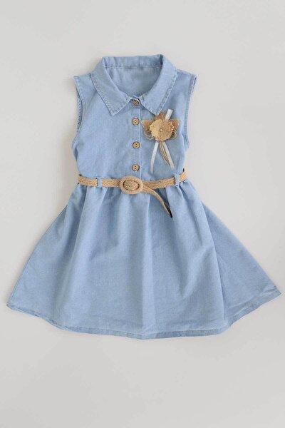 Ak222021 Kız Çocuk Hasır Kemerli Kot Elbise