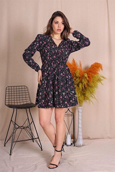Kadın Beli Büzgülü Çiçek Desenli Yeni Sezon Elbise Gts001