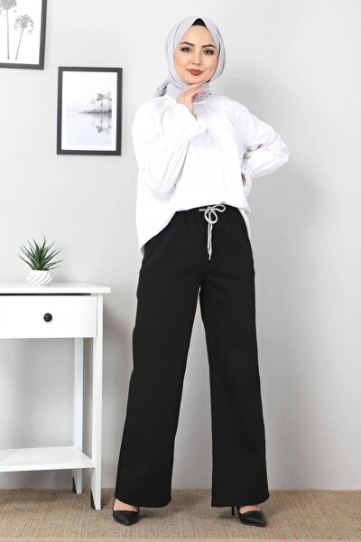 Kadın Siyah Beli Lastikli Bol Paça Kot Pantolon