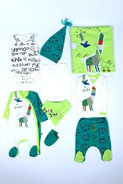 Erkek Bebek Yeşil Origami Zürafalı Hastane Çıkışı Bebek Takımı