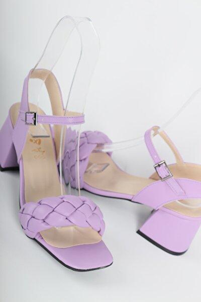 Kadın Lila Örgülü Topuklu Ayakkabı