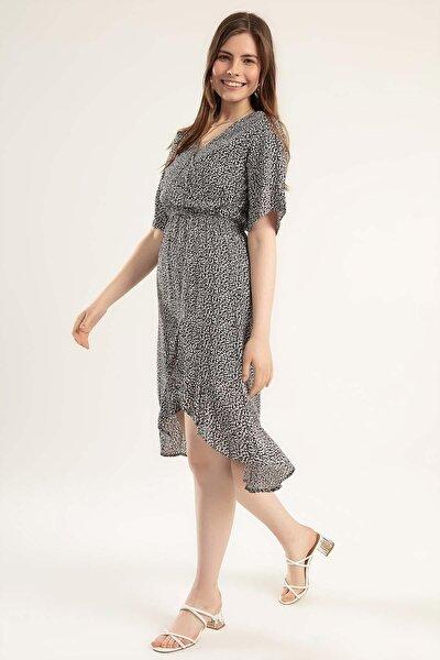 Kadın Kruvaze Yaka Mini Elbise Y20s110-1712