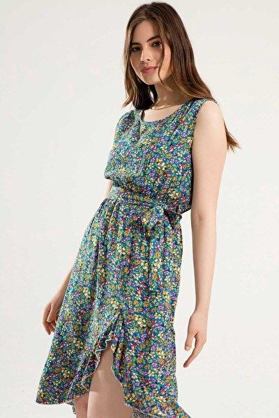 Kadın Kuşaklı Sıfır Kollu Çiçekli Elbise Y20s110-1705