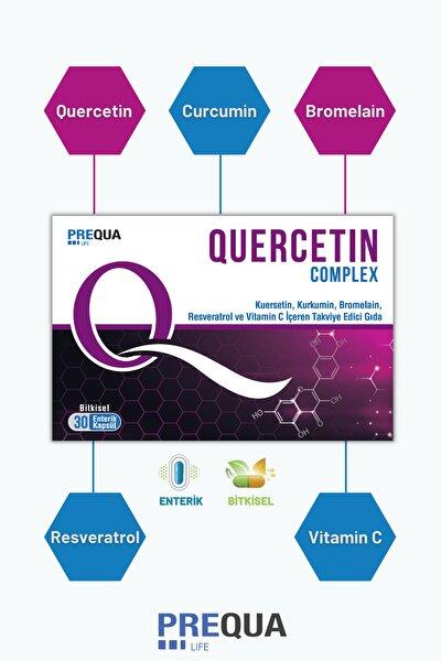 Quercetin Complex 30 Bitkisel Enterik Kapsül-kuersetin, Kurkumin, Bromelain, Resveratrol, Vitamin C