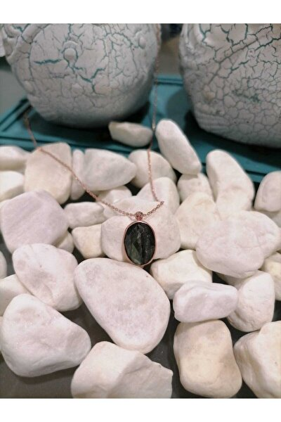 925 Ayar Gümüş Rose Kaplama Tanzanit Taşlı Kolye