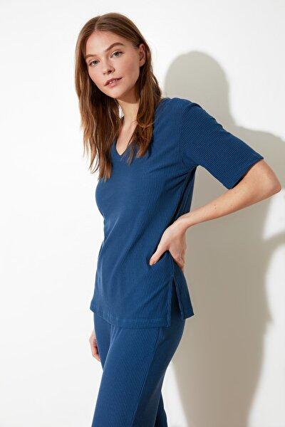 Mavi Kaşkorse Örme Pijama Takımı THMSS21PT0093