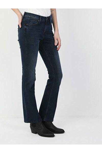 Kadın Lacivert Monica Normal Kesim Normal Bel Süper Geniş Paça Jean Pantolon 791