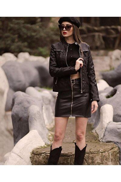 Kadın Deri Siyah Belden Oturtmalı Süs Kapak Detaylı Suni Deri Basic Ceket