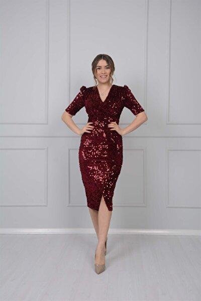 Kadife Payet Ceket Elbise - Bordo
