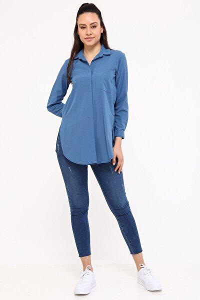 Kadın Mavi Uzun Kollu Gömlek 3879