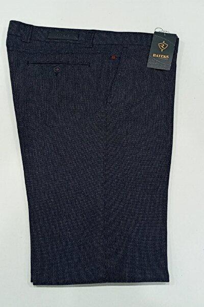 Erkek Lacivert Casual Spor Pamuklu Kendinden Desenli Pantalonu