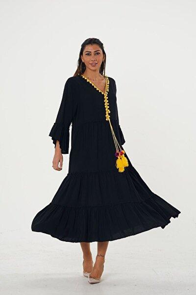 Kadın Siyah Sarı Ponpon Detaylı Püsküllü V Yaka Kolları Volanlı Dokuma Elbise