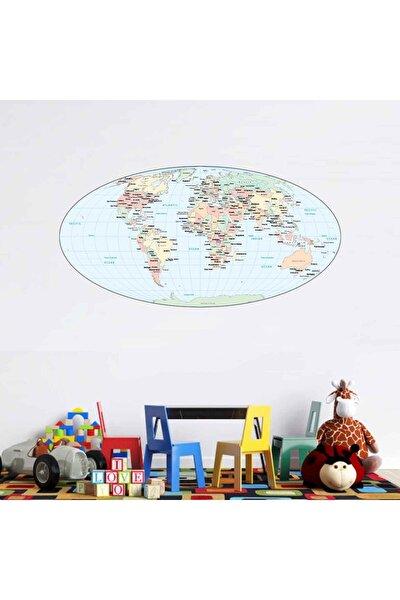 Dünya Haritası Okyanuslar Ve Ülkeler Duvar Sticker