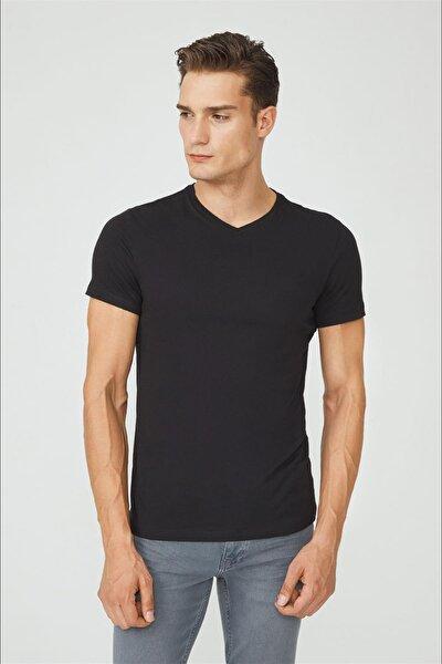 Erkek Siyah V Yaka Düz T-shirt E001001