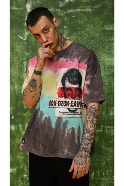 Erkek Gri Oversize Tasarım T-shirt
