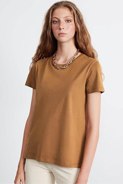 SAMANTHA  Kadın Kahverengi Comfort Fit Arkası Uzun T-Shirt