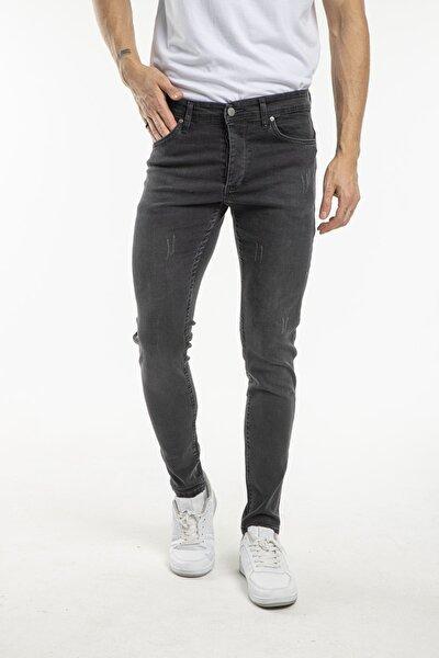 Erkek Antrasit Gri Renk Dar Paça Tırnak Model Detaylı Jeans Kot Pantolon
